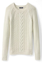 Lands' End Women's Petite Lofty Blend Cable Sweater-White Canvas