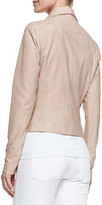 Vince Leather Scuba Shawl-Collar Jacket, Blush