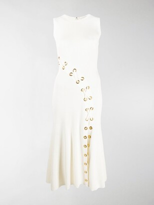Alexander McQueen Ribbed Tie Detailed Midi Dress