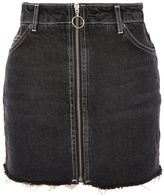 Topshop PETITE Zip Through Denim Mini Skirt