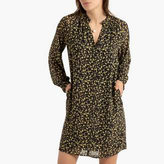 See U Soon Short Shirt Dress in Graphic Print with Long Sleeves and Pockets