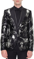 Dolce & Gabbana Forest-Print Silk Evening Jacket, Black/White