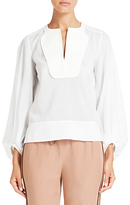 Diane von Furstenberg Mallegra Cotton Voile Blouse In White