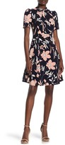 Maggy London Neck Tie Floral Fit & Flare Dress