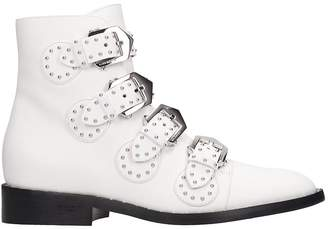 Givenchy Elegant Fl Low Heels Ankle Boots In White Leather