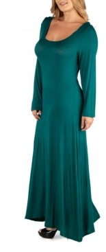 24Seven Comfort Apparel Long Sleeve T-Shirt Plus Size Maxi Dress