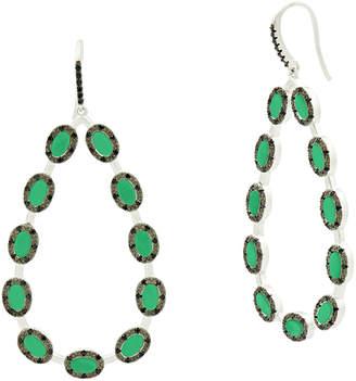 Freida Rothman Industrial Finish Green Agate Teardrop Earrings