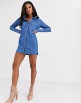 Asos Design DESIGN denim shirt dress in blue