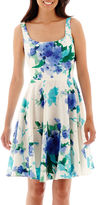 Donna Ricco DR Collection Sleeveless Floral Print Fit-and-Flare Dress - Petite