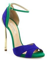 Casadei Two-Tone Suede Ankle-Strap Sandals