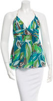 Milly Printed Silk Halter Top