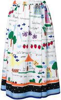 Muveil printed full skirt