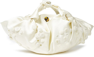 The Row Ascot Small Pompom-embellished Embroidered Satin Tote