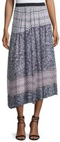 Rebecca Taylor Asymmetric Paisley Skirt, Pink Orchid