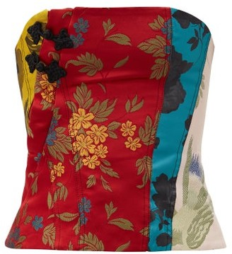 Marques Almeida Patchwork Upcycled Floral-brocade Corset - Red Multi