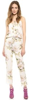 beyonce knowles  Who made  Beyonce Knowles white floral pleated jumpsuit?