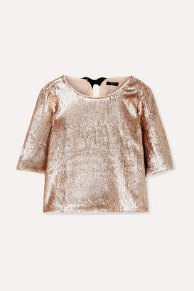 J.Crew Bianca Grosgrain-trimmed Sequined Crepe Top - Metallic