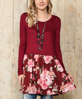 Celeste Burgundy & Pink Floral Ruffle Tunic