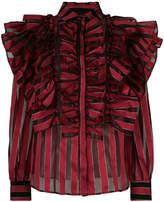 Christian Pellizzari ruffled striped blouse
