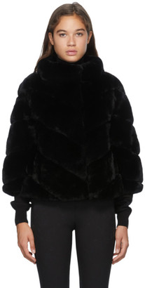 Yves Salomon Black Three-Quarter Sleeve Rex Rabbit Fur Jacket