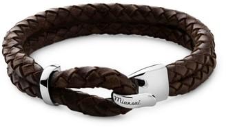 Miansai Beacon Sterling Silver Braided Leather Bracelet
