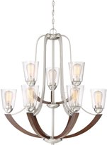 Quoizel Lighting HE5009BN Holbeck - Nine Light Large Chandelier, Finish with Clear Seedy Glass