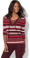 New York & Co. Lace-Up Ribbed-Knit Sweater - Stripe