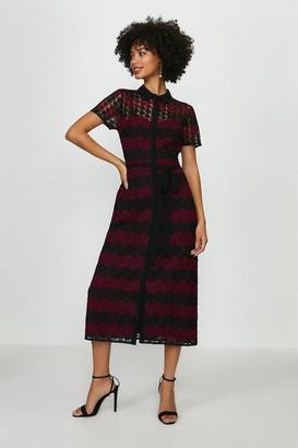 Coast Striped Mono Lace Shirt Dress
