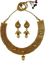Matra Ethnic Indian Traditional tone Choker Necklace Earring Set Bridal Jewelry
