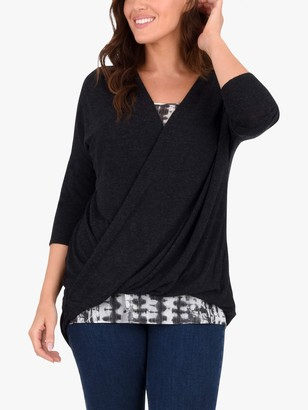 Live Unlimited Curve Wrap Front Blouse, Black/Multi