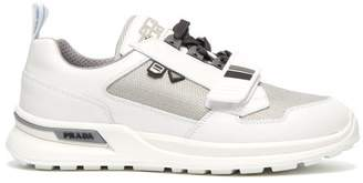 Prada Panelled Mesh And Leather Trainers - Mens - Grey White