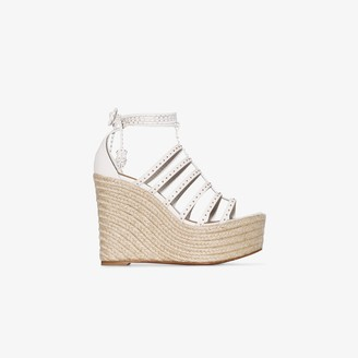 Alaia White 130 studded leather espadrille wedges