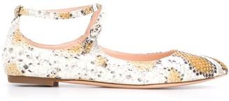 AGL Snakeskin-Effect Ballerina Shoes