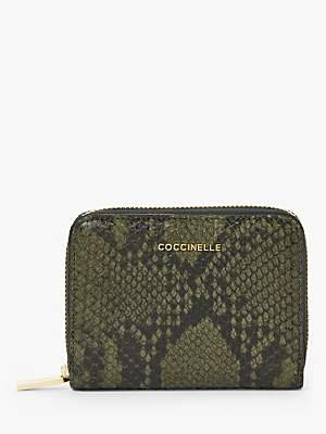 Coccinelle Reptile Print Leather Zip Around Wallet, Green