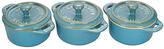 Staub Rustic Turquoise Three-Piece Mini Round Cocotte Set