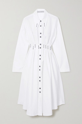 Palmer Harding Escen Embroidered Cotton-pique Shirt Dress - White