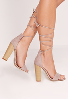 Missguided Block Heel Barely There Sandals Grey