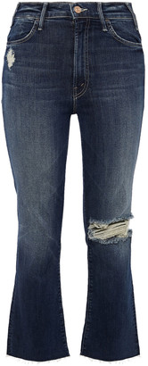 Mother Cropped Distressed High-rise Bootcut Jeans