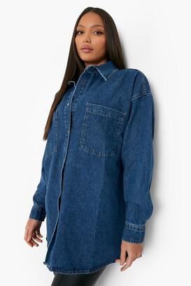 boohoo Tall Oversized Button Down Denim Shirt