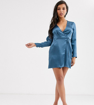 Asos DESIGN Petite wrap mini dress in high shine satin-Blue