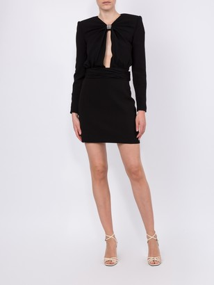 Saint Laurent Embellished Cut Out Mini Cocktail Dress