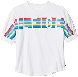 Tommy Hilfiger Stripe Tee (Big Kids) (White) Girl's Clothing