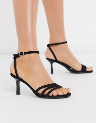 New Look square toe strappy stiletto sandal in black
