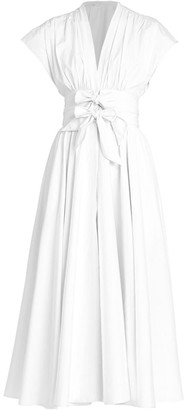 Alaia Bow-Waist Popeline Midi Dress