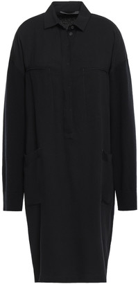 Haider Ackermann Paneled Twill And Knitted Shirt Dress