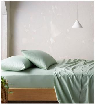 Vue 250TC Organic Stonewashed Cotton Sheets in Sage Mint Single