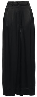 Love Moschino Cropped Open Knit-trimmed Satin-crepe Wide-leg Pants