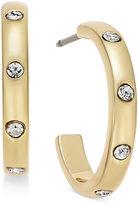 Kate Spade Gold-Tone Crystal Studded J-Hoop Earrings