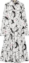 Michael Kors + David Downton Printed Silk Crepe De Chine Midi Dress