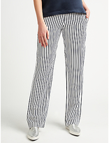 Samsoe & Samsoe Hoys Straight Leg Stripe Trousers, Dark Blue Stripe